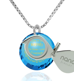 Serenity Prayer Jewelry: Top Gifts for Wife, Womens Birthday Presents, Blue Topaz Necklace, Nano Jewelry