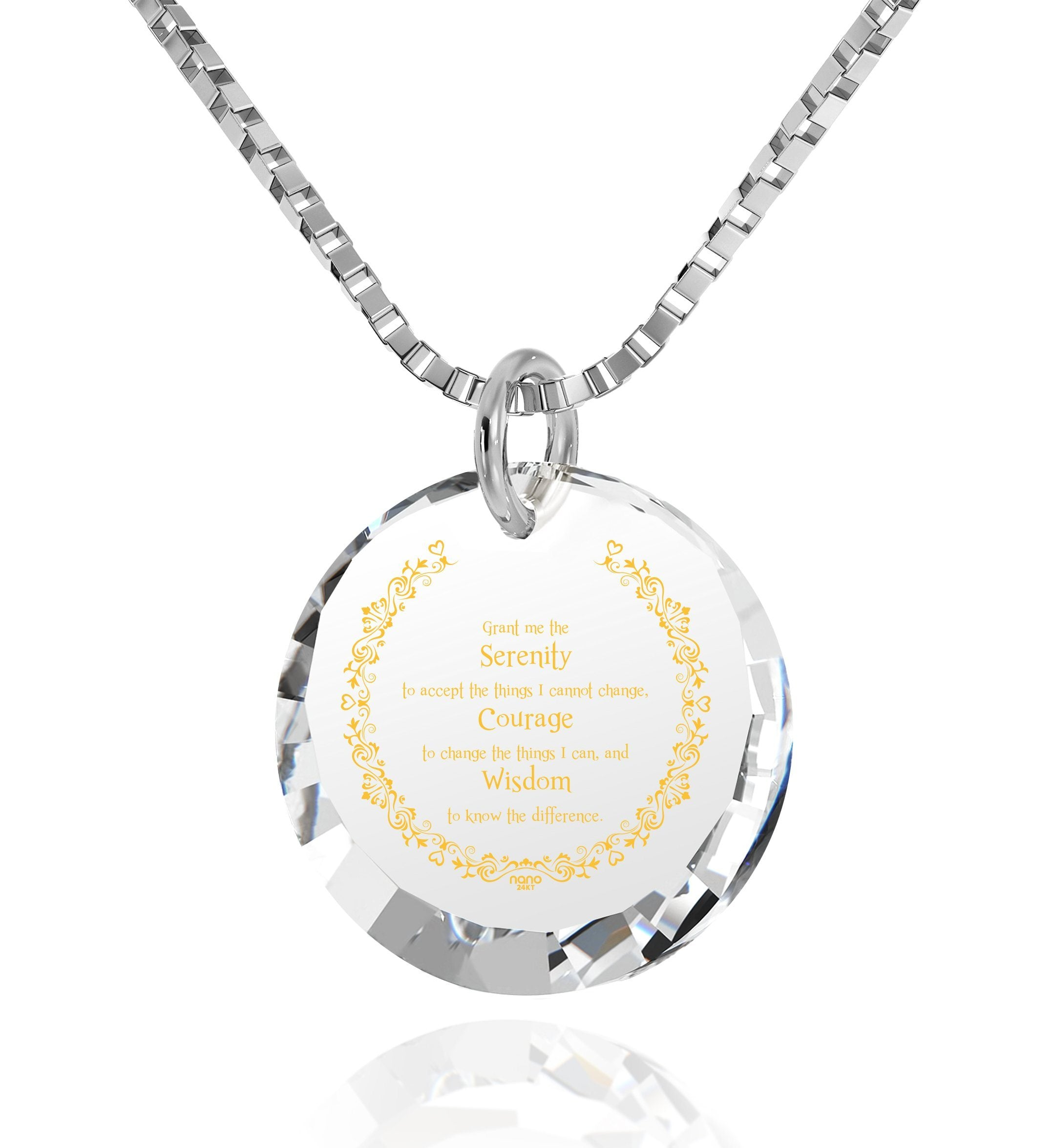 Serenity Prayer Jewelry: Top Gifts for Wife, Womens Presents, White Stone Necklace, Nano Jewelry