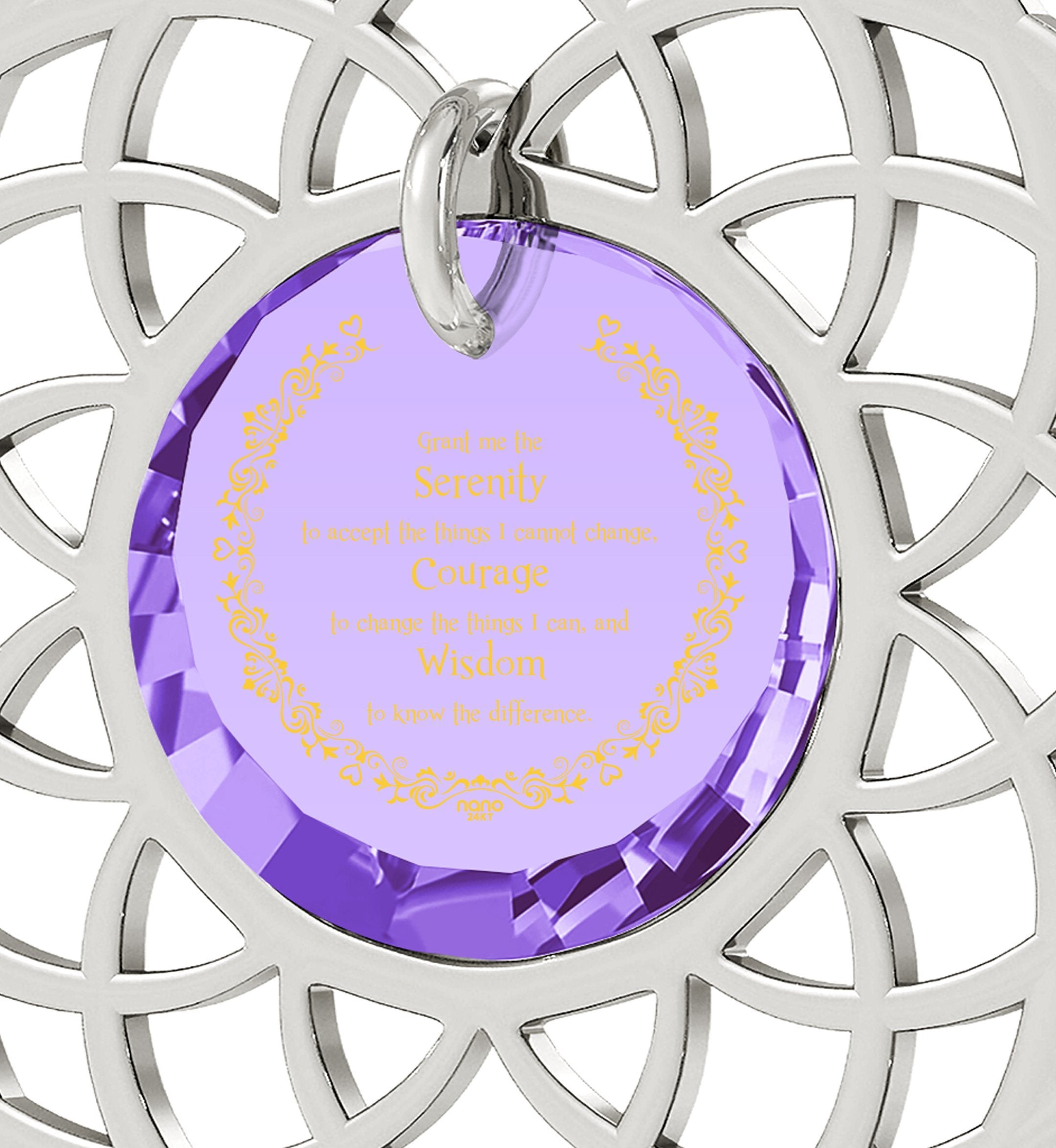 Serenity Prayer Jewelry: What to Get Girlfriend for Birthday, Best Presents for Women, Purple Necklace, Nano Jewelry