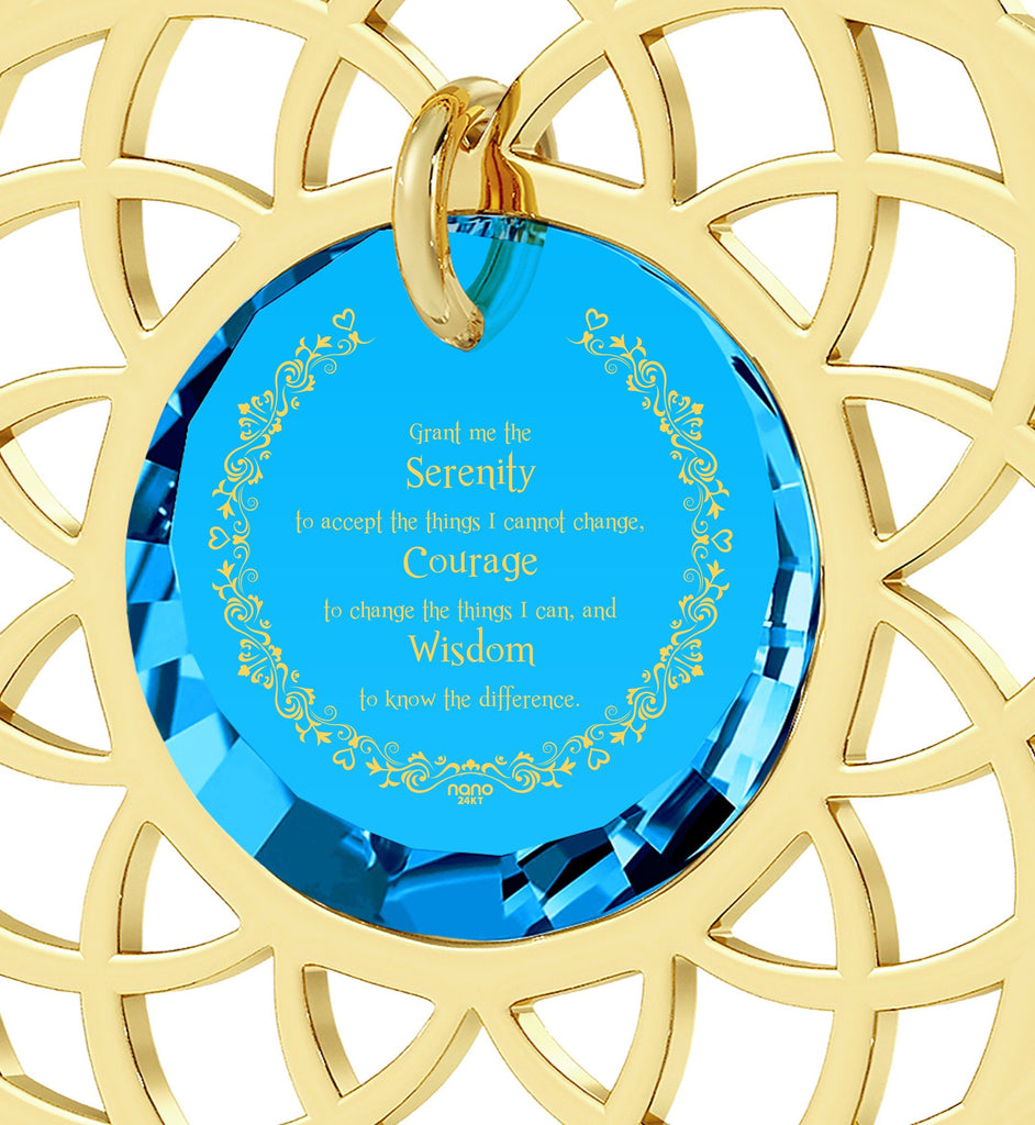 Serenity Prayer Necklace: Christmas Presents for Sister: Graduation Gifts for Her, Fine Gold Jewelry, Nano Jewelry