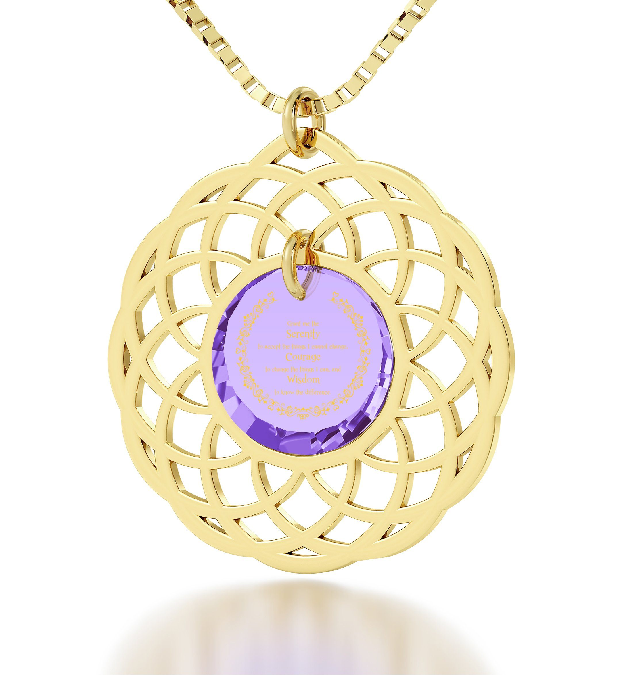 Serenity Prayer Necklace: Top Gifts for Wife, Presents for Sisters, Fine Gold Jewelry, Nano Jewelry
