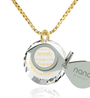Serenity Prayer Necklace: Top Gifts for Wife, Women's 14k Gold Jewelry, Nano Jewelry