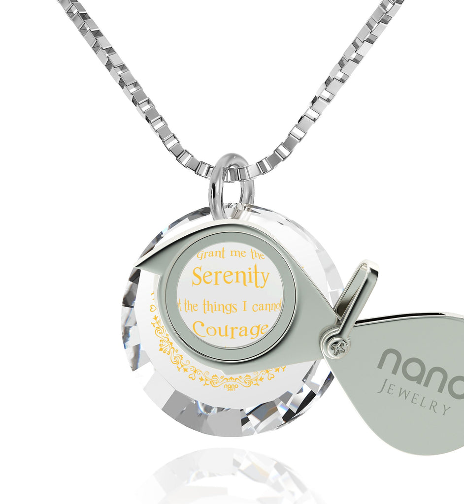 Serenity Prayer Necklace: Top Gifts for Wife, Women's 14k White Gold Jewelry, Nano Jewelry