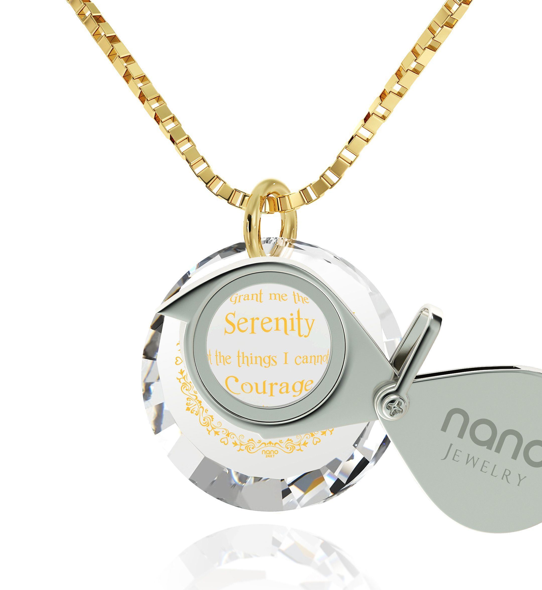 Serenity Prayer Necklace: Top Gifts for Wife, Women's Gold Jewelry, Nano Jewelry