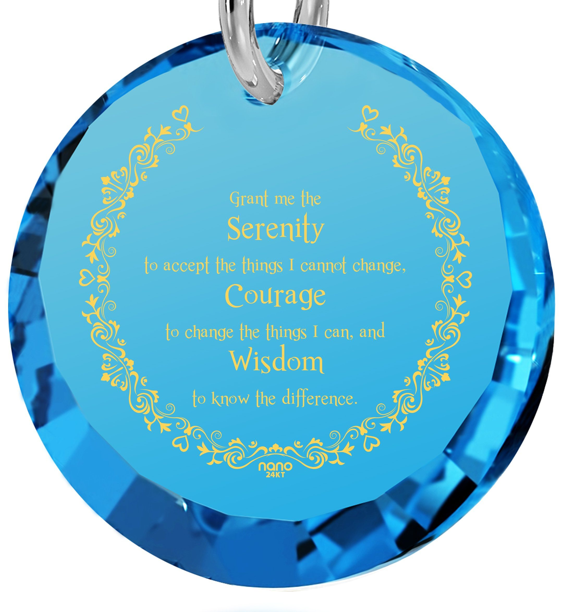 Serenity Prayer Necklace: Valentine's Day Gifts for Girlfriend, Women's Sterling Silver Jewelry, Nano Jewelry