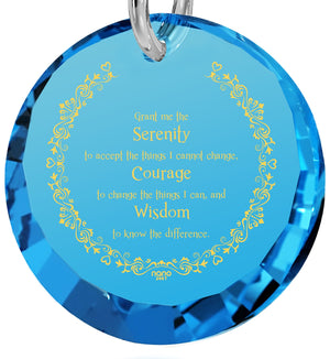 Serenity Prayer Necklace: Valentine's Day Gifts for Wife, Women's 14k White Gold Jewelry, Nano Jewelry