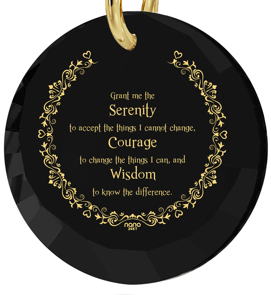 Serenity Prayer Pendant: Christmas Presents for Him, Good Gifts for Boyfriend, Black Jewelry Sets, Nano Jewelry