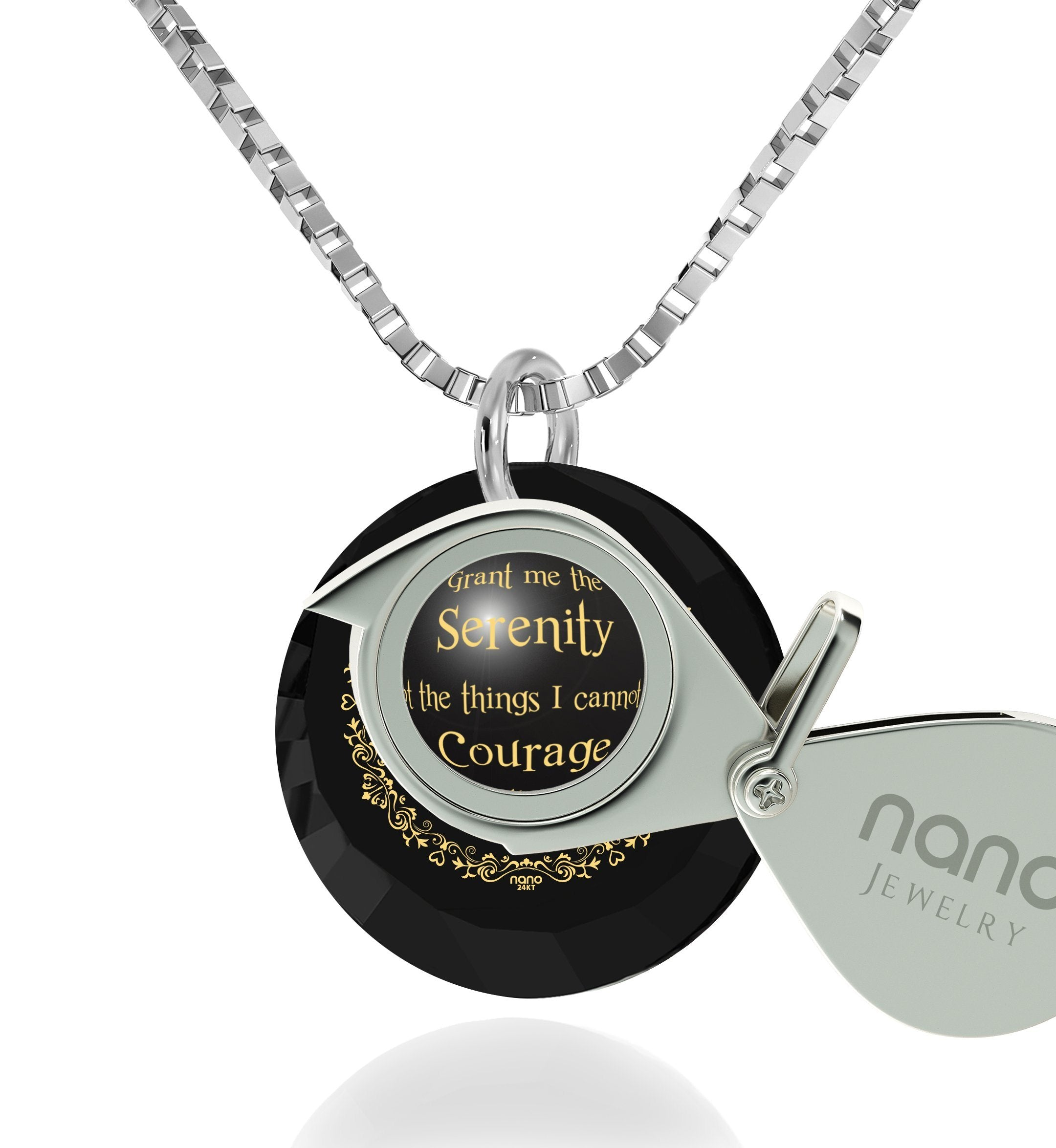 Serenity Prayer Pendant: What to Get Boyfriend for Birthday, Cool Man Gifts, Black Jewelry Sets, Nano Jewelry