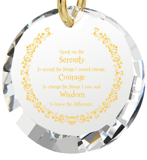 Serenity Prayer Pendant: What to Get Girlfriend for Birthday, Gold Jewelry for Women, White Stone Necklace, Nano Jewelry
