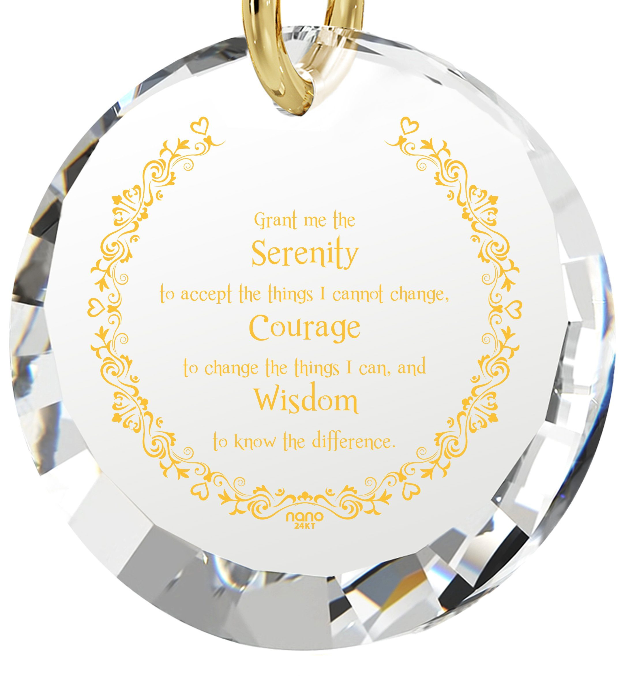 Serenity Prayer Pendant: What to Get Wife for Birthday, 14k Gold Jewelry for Women, White Stone Necklace, Nano Jewelry