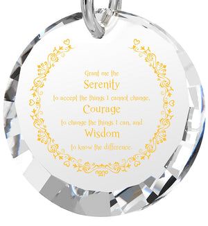 Serenity Prayer Pendant: What to Get Wife for Birthday, 14k White Gold Jewelry for Women, White Stone Necklace, Nano Jewelry