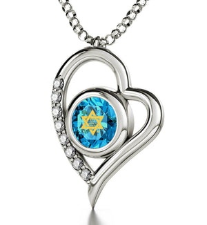 """Shema Yisrael"" Engraved in 24k, Jewish Necklace with Blue Topaz Stone Pendant, Israeli Jewelry Designer"