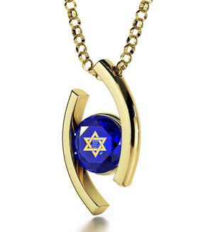 """Shema Yisrael"" Engraved in 24k, Judaica Jewelry with Blue Diamond Stone, Jewish Star Necklace"