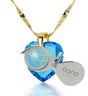 """Shema Yisrael"" Engraved in 24k, Judaica Jewelry with Blue Topaz Stone, Heart Necklaces for Women"