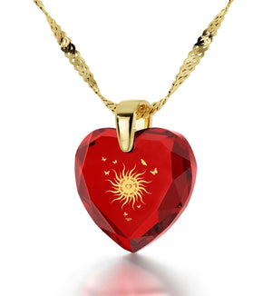 """Best Valentine Gift for Girlfriend,Womens Gold Necklace, CZ Red Heart, Birthday Surprises for Her by Nano Jewelry"""