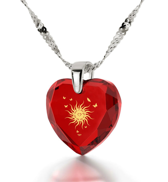 """Small Gift Ideas,""I Love You to the Sun and Back"" Engraved In Pure Gold, Necklace for Girlfriend"""