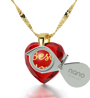 "Special Gifts for Mom, ""Best Mom"" Red Heart Necklace, Mother Birthday Present, by Nano Jewelry"