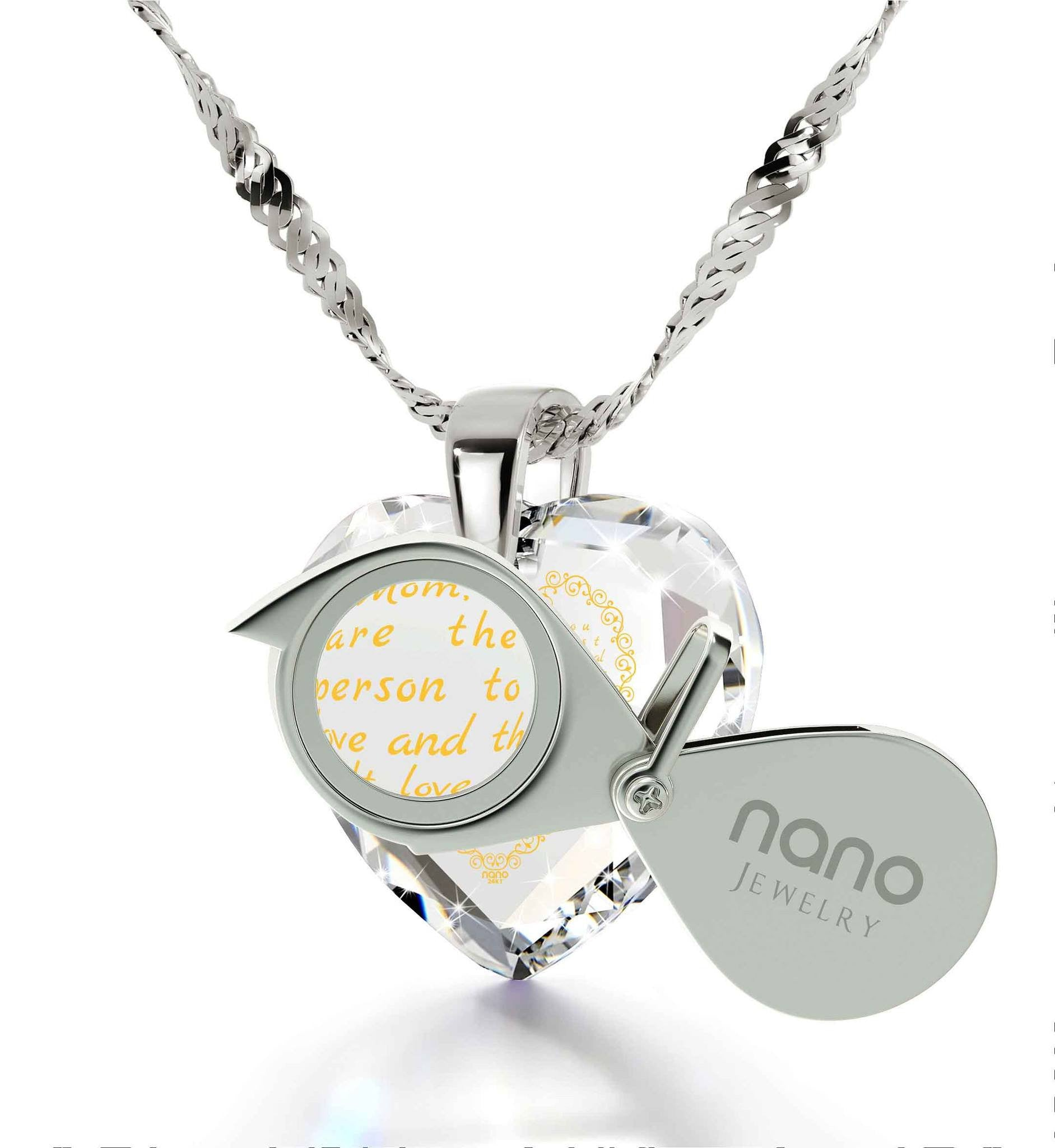 Special Mother's Day Gift, Birthday Presents for Mom, Cubic Zirconia Necklace, Engraved in 24k Gold, by Nano Jewelry
