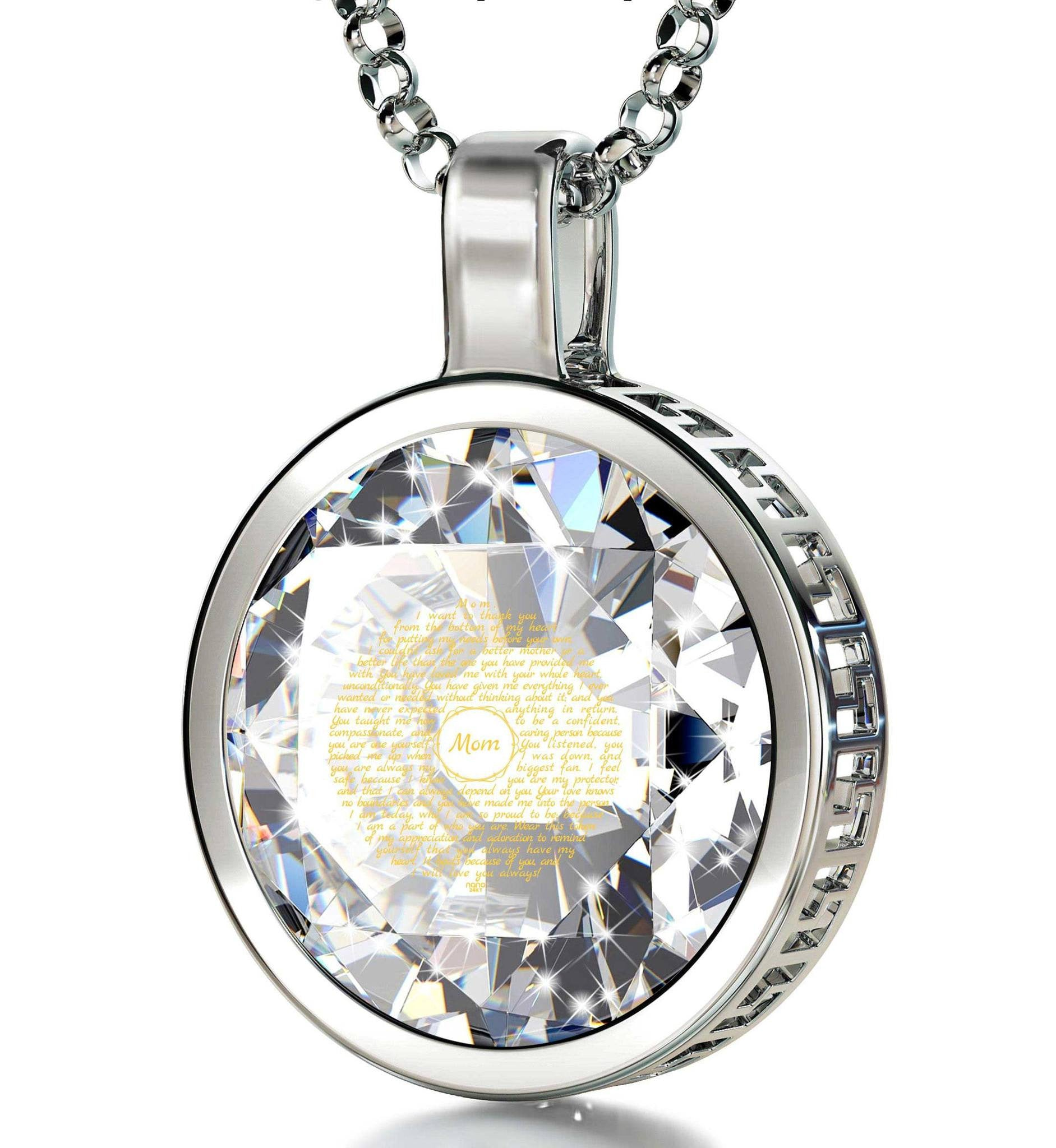 Special Mother's Day Gifts, 14k White Gold Engraved Jewelry, Valentines Gift for Mom, by Nano