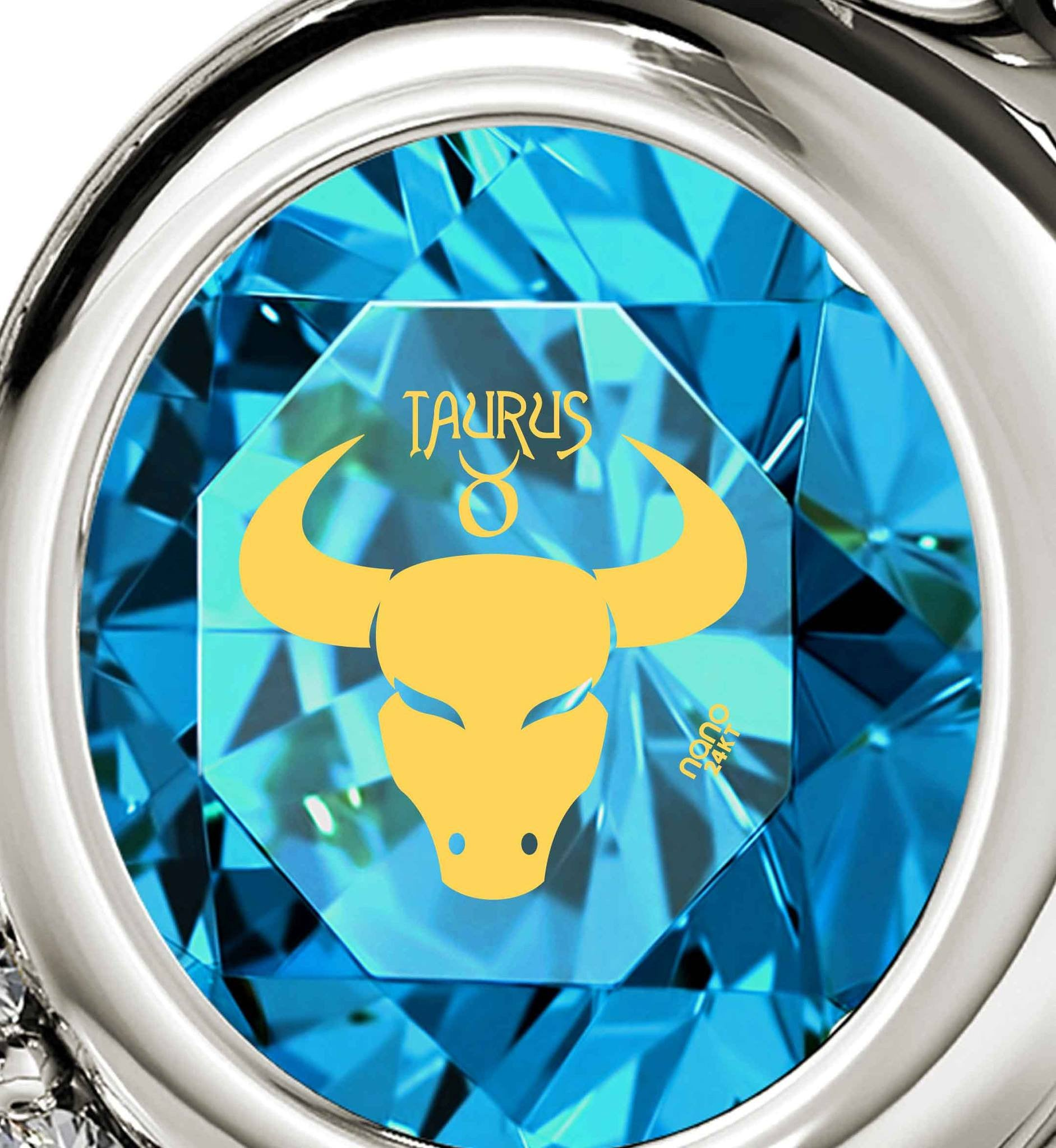 """Taurus Jewelry With Zodiac Imprint, Best Valentine Gift for Girlfriend, Birthday Surprises for Her, Blue Stone Necklace"""