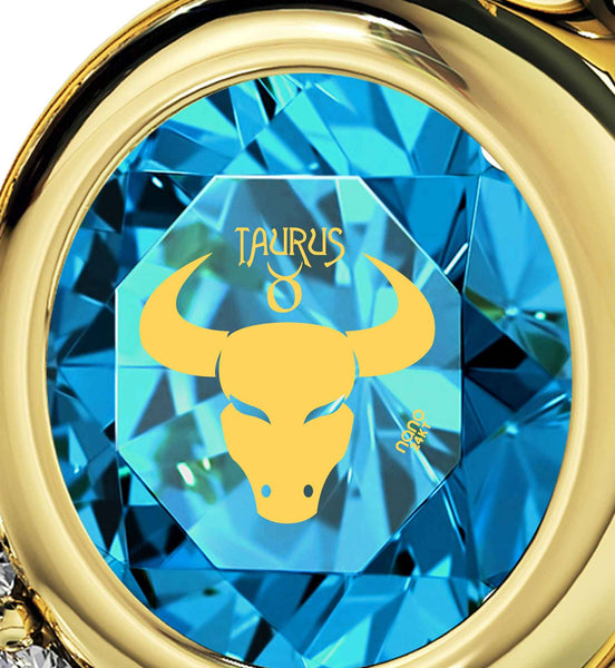 """Taurus Jewelry With Zodiac Imprint, Valentine Gifts for Best Friend, Necklaces for Your Girlfriend, by Nano"""