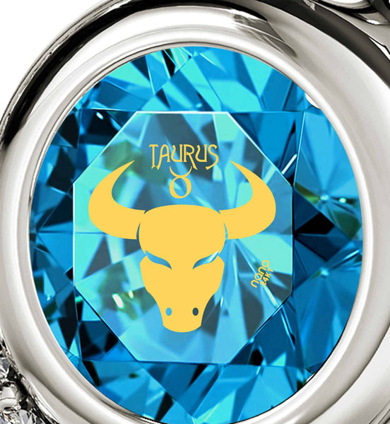 """Taurus Necklace With Zodiac Imprint, Top Gift Ideas for Women, Christmas Presents for Teenagers, Blue Topaz Jewelry """