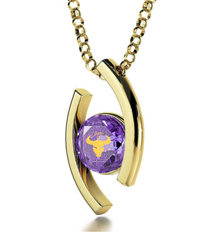 """Taurus Jewelry With Zodiac Imprint, Good Christmas Presents for Girlfriend, Best Gift for Wife, Purple Pendant"""