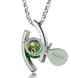 """Taurus Jewelry With Zodiac Imprint, Birthstone Necklaces for Mothers, Great Gifts for Wife, Green Stone Necklace """