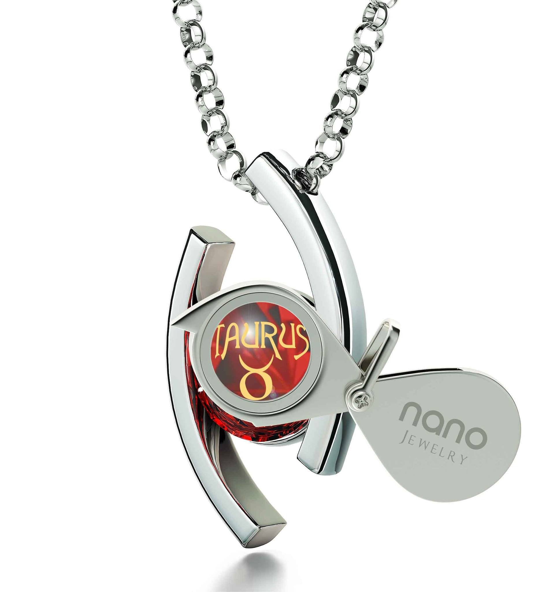 """Taurus Jewelry With Zodiac Imprint, Top Valentines Gifts for Her, Cool Gifts for Girlfriend, 14k White Gold Necklace"""
