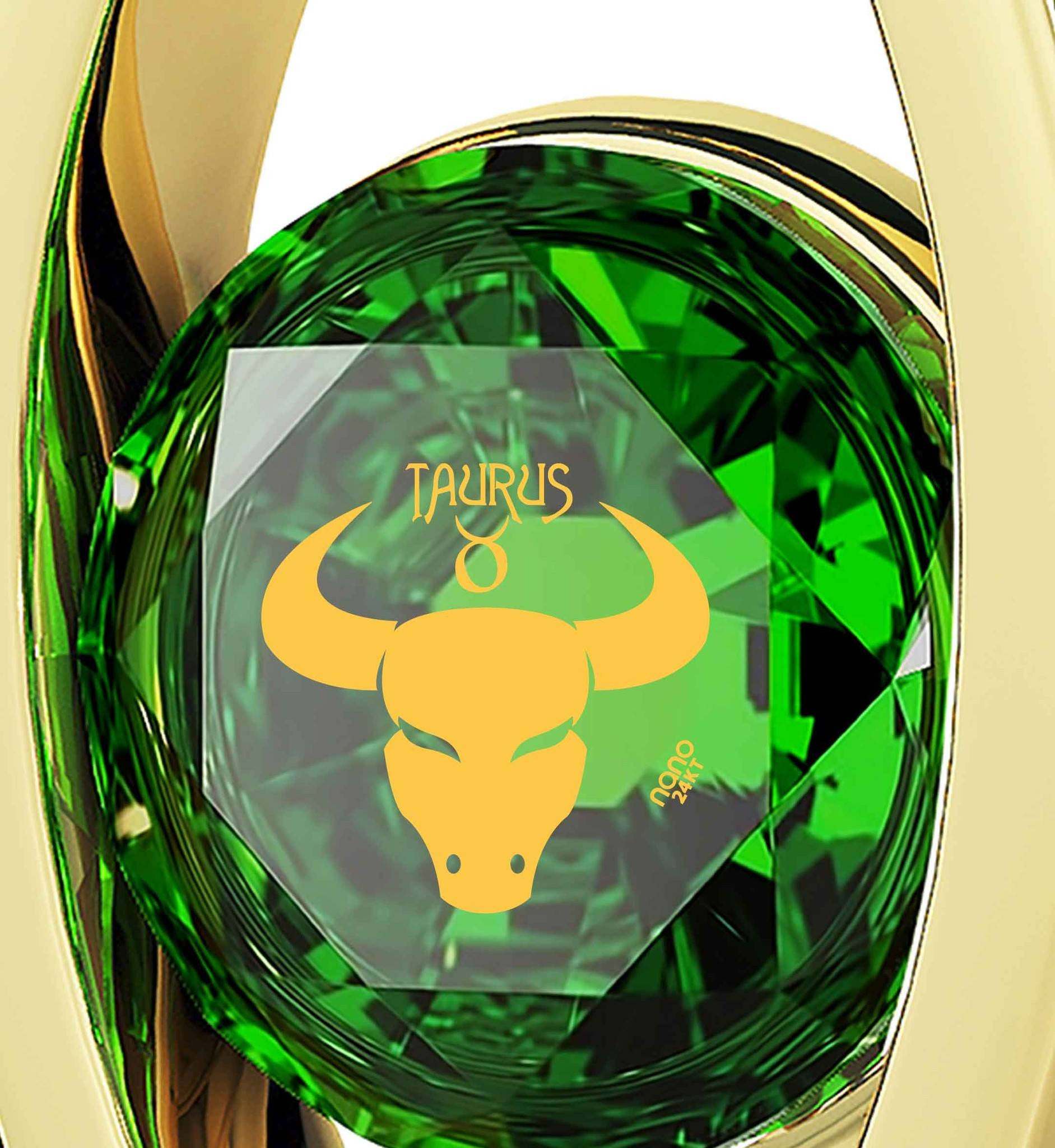 """Taurus Jewelry With 24k Imprint, Women's Gold Jewelry, Valentines Day Ideas for Girlfriend, May Birthstone Necklace"""