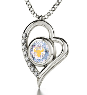 """Taurus Necklace With Zodiac Imprint, Mother's Day Gifts for Wife, Birthday Present Ideas for Mum, CZ Jewellery """