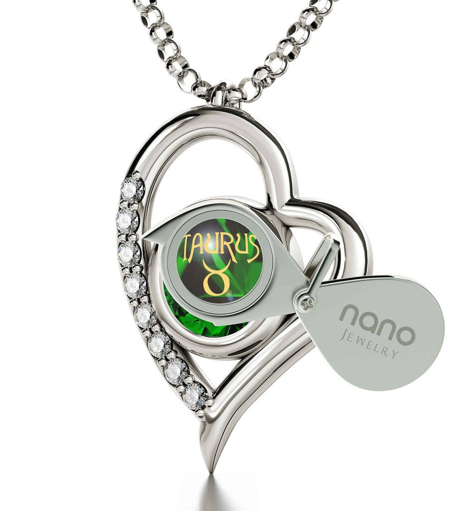 """Taurus Pendant With Zodiac Imprint, Birthday Gift for Teenage Girl, Birthstone Jewelry for Mom, Green Stone Necklace"""
