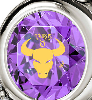 """Taurus Pendant With Zodiac Imprint, Birthday Present for Sister, Unusual Valentines Gifts, Purple Stone Jewelry """