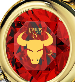 """Taurus Necklace With Zodiac Imprint, Best Valentine's Day Gifts for Her, Heart Necklaces for Girlfriend, by Nano Jewelry """