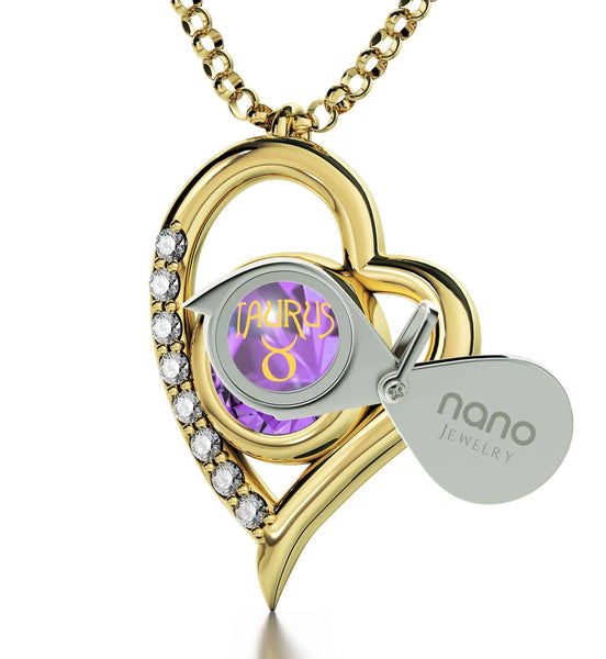 """Taurus Jewelry With Zodiac Imprint, Valentine Gifts for Best Friend, Necklaces for Your Girlfriend, Purple Stone Pendant"""
