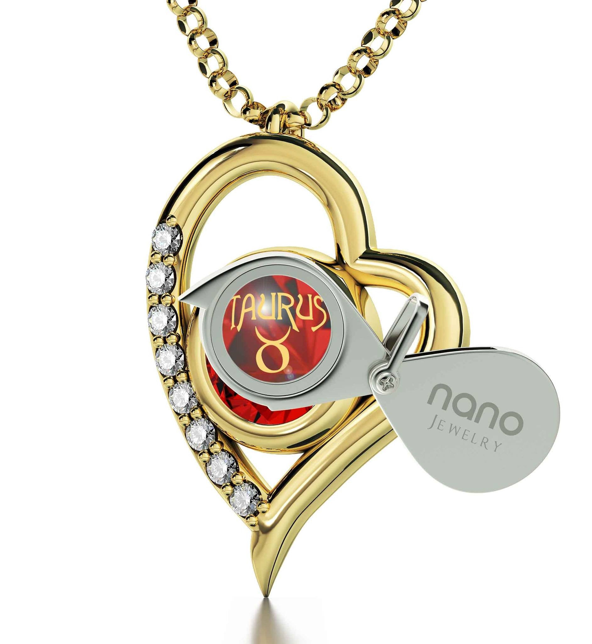 """Taurus Zodiac Sign Imprint, Heart Necklaces for Girlfriend, Top Gifts for Mom, by Nano Jewelry"""
