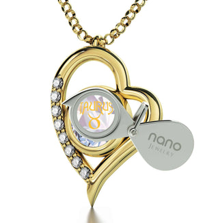 """Taurus Necklace With Zodiac Imprint, Best Valentine Gift for Girlfriend, Birthday Surprises for Her, by Nano Jewelry"""
