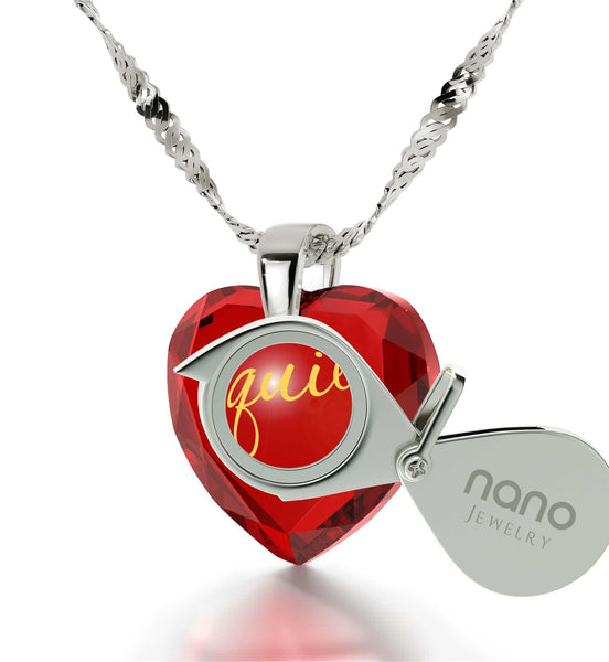 """TeQuiero""- I Love You in Spanish, Christmas Gift for Girlfriend, Red Cubic Zirconia Necklace"