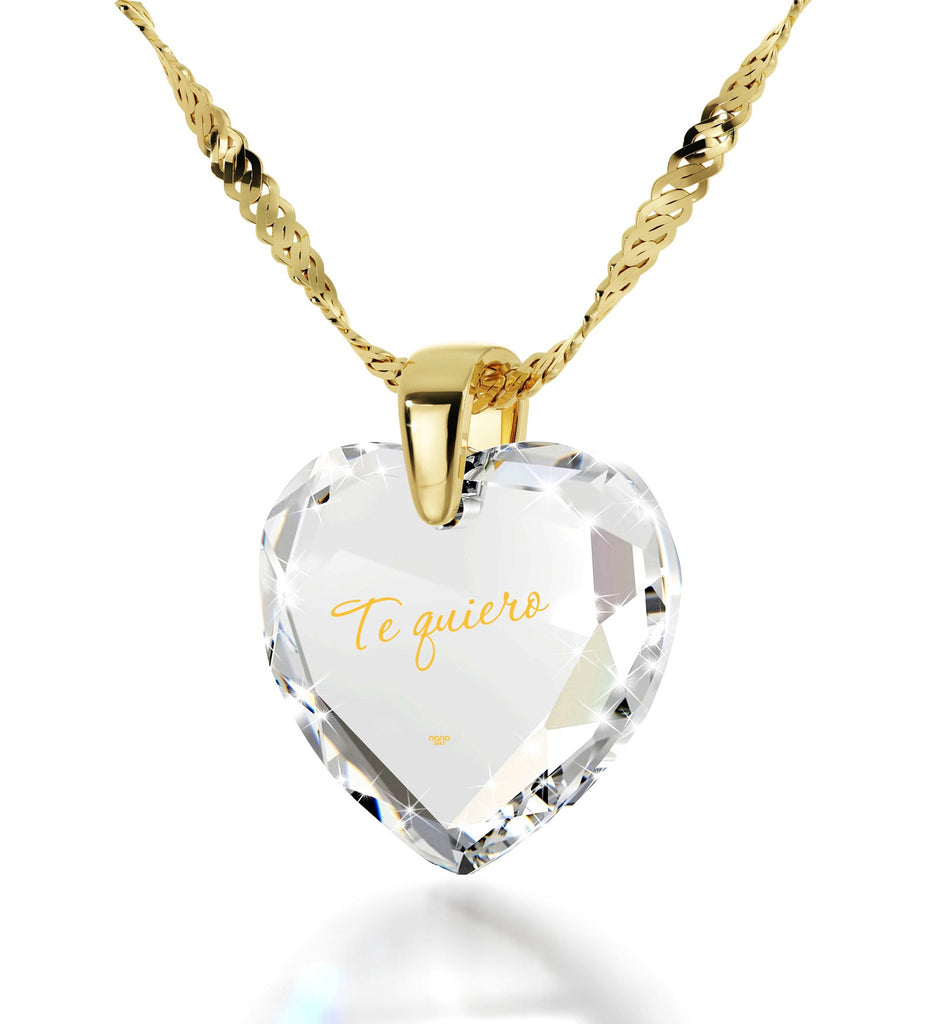 """TeQuiero""- I Love You in Spanish Engraved In 24k, Birthday Gift for Her, Transparent Cubic Zirconia Necklace"
