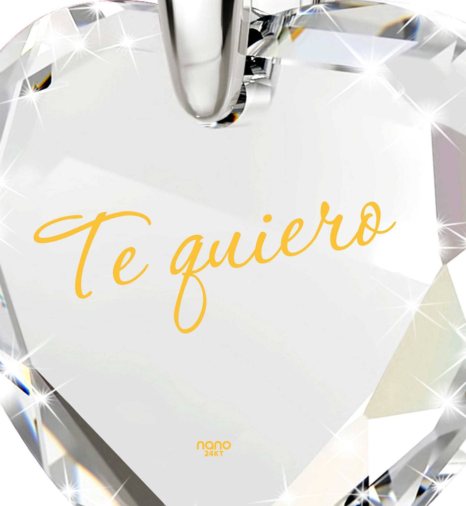 """TeQuiero""- I Love You in Spanish Inscribed In 24k, Birthday Gift for Her, Clear Cubic Zirconia Jewelry"