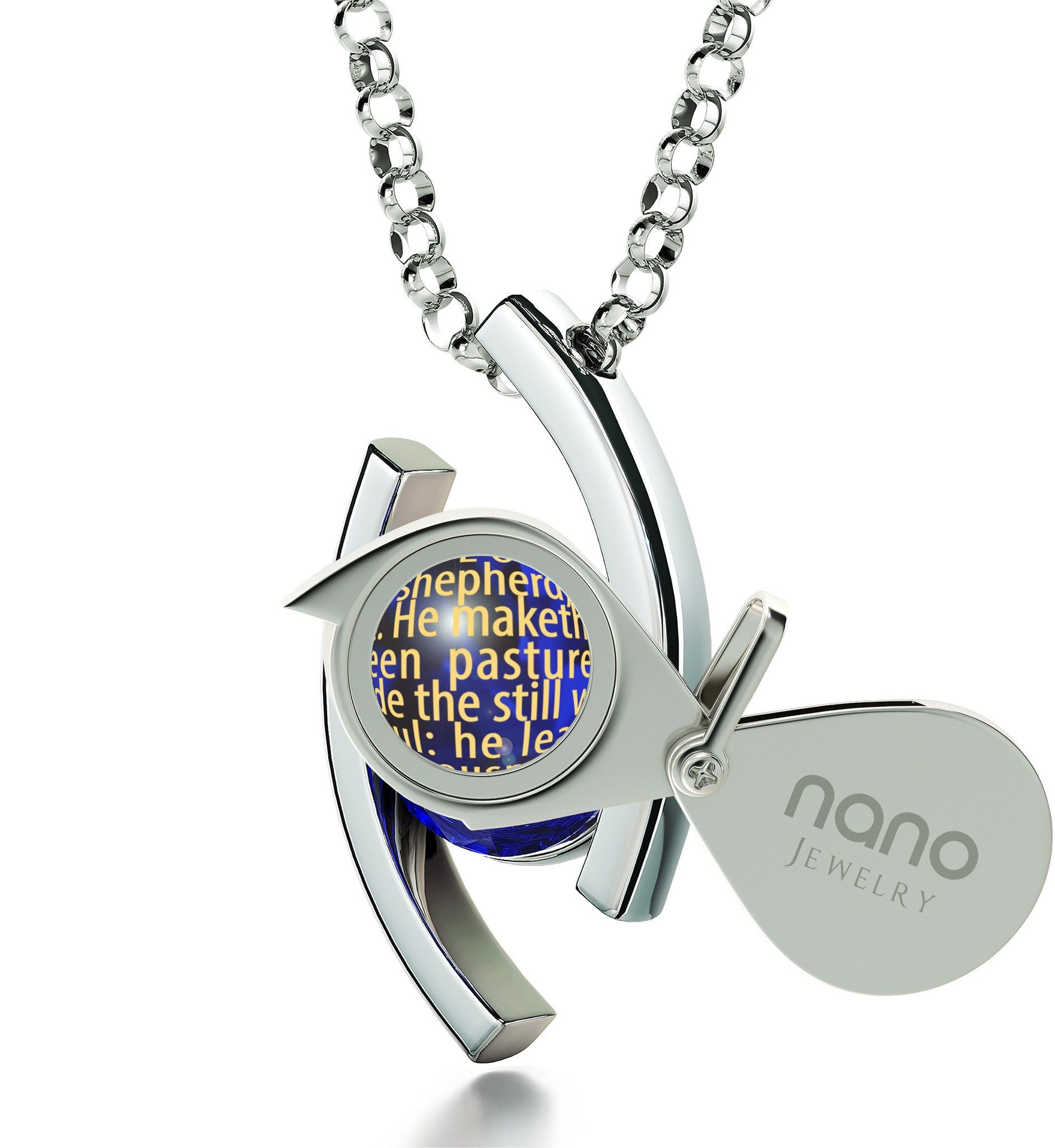 """Psalm 23 Meaning in 24k: Birthday Present for Sister, Catholic Confirmation Gifts, Real Sterling Silver Necklace by Nano Jewelry"""