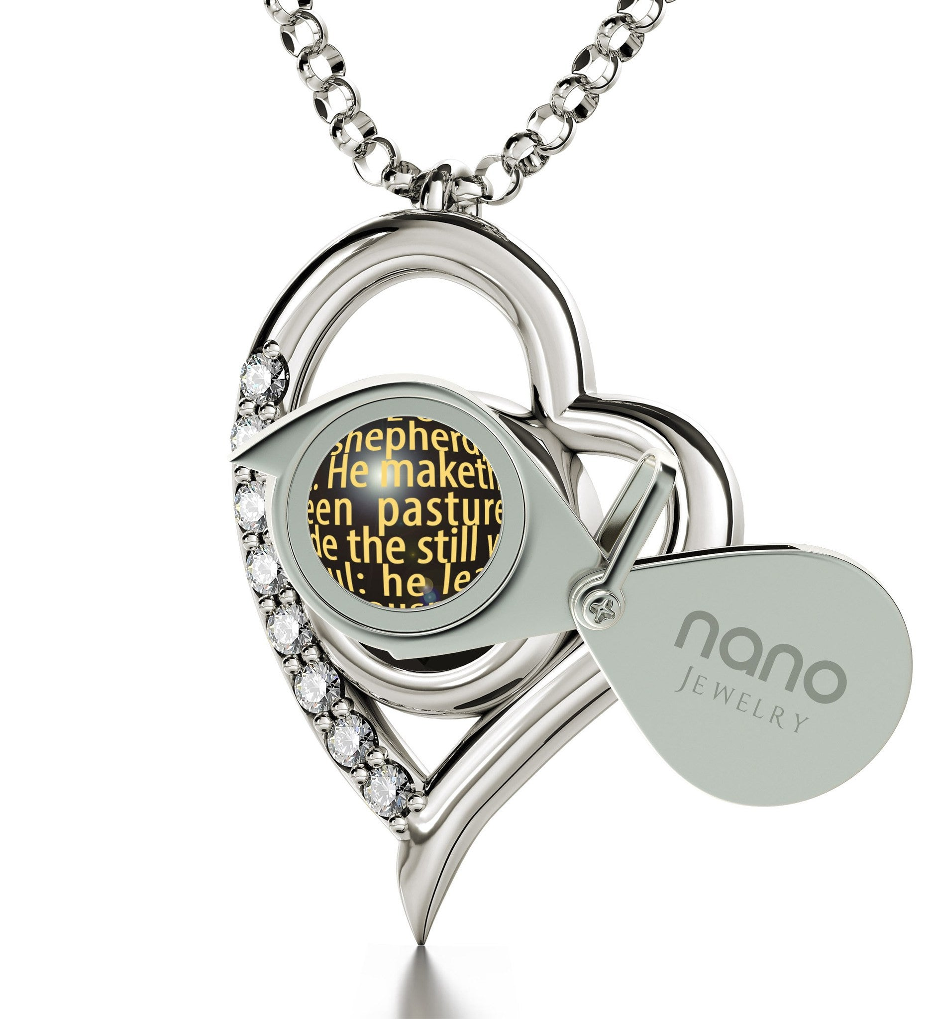 """Psalm 23 Engraved in 24k: Birthday Present Ideas for Girlfriend, Catholic Necklace by Nano Jewelry"""