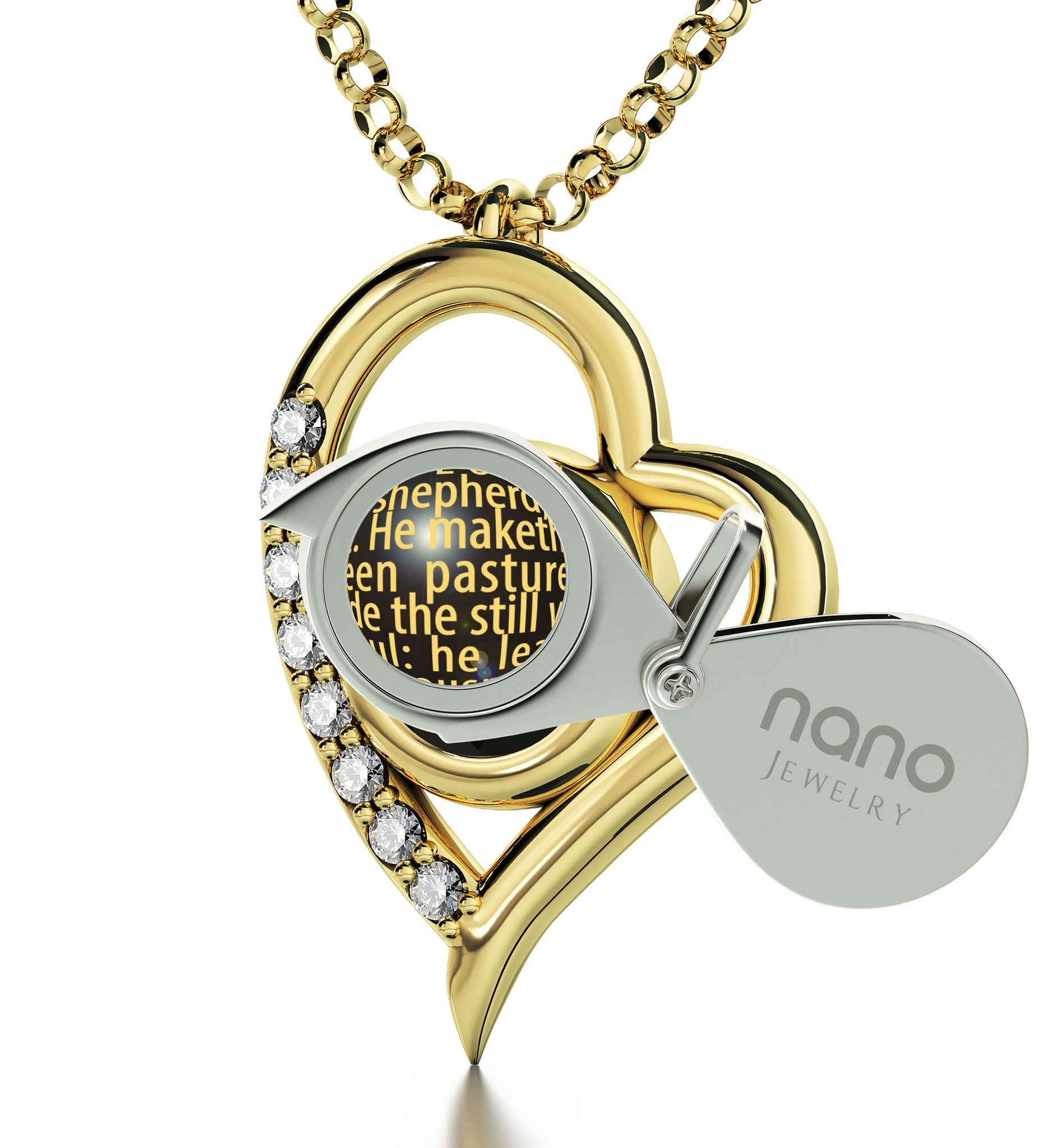"""Psalm 23 Engraved in 24k: Christmas Ideas for Girlfriend, Catholic Pendants by Nano Jewelry"""