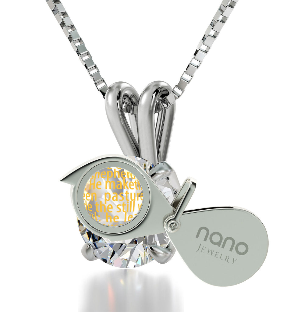 """Psalm 23 Prayer in 24k: Gifts for Best Friend Woman, Wife Birthday Ideas, Dainty 14k White Gold Necklace, Nano Jewelry"""