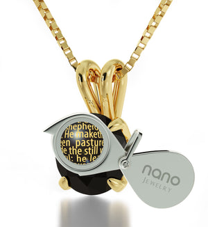 """Psalm 23 Prayer: Good Valentines Day Gifts for Girlfriend, Wife Birthday Ideas, Dainty Gold Necklace, Nano Jewelry"""