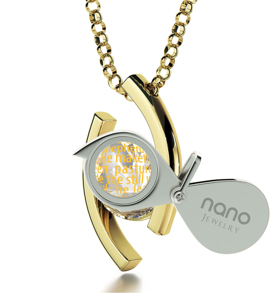 """Psalm 23 Meaning in 24k: Birthday Present for Sister, Catholic Confirmation Gifts, Real Gold Necklace by Nano Jewelry"""