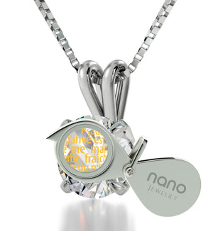 """Psalm 23 inFrench: ChristmasPresents for Sister, Gifts for FemaleFriends, Real SterlingSilverNecklaceby Nano"""
