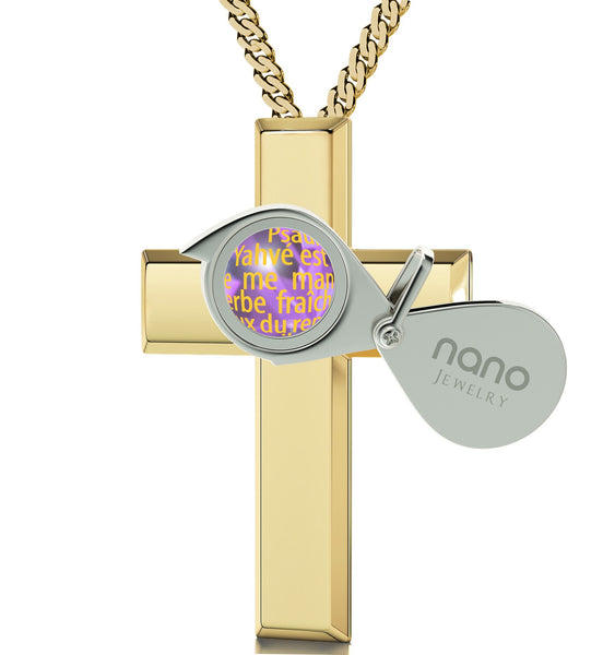"""Psalm 23 in French: Christmas Present Ideas for Best Friend, Valentines Gifts for Mom, Gold Cross and Chain"""