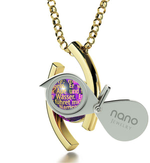 """Der Herr Ist Mein Hirte Engraved in 24k: Christmas Presents for Sister, Gifts for Christian Women by Nano Jewelry"""