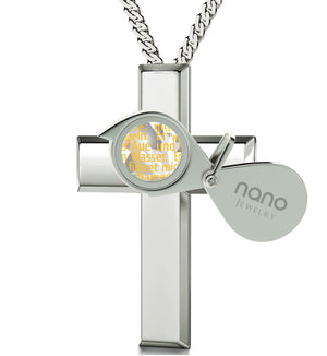 """Der Herr Ist Mein Hirte: Cross Necklace for Girl, Good Anniversary Gifts for Her, Sterling Silver Plated Jewellery"""